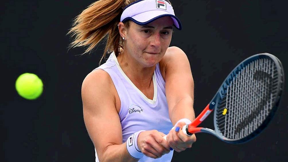 """La rosarina Nadia Podoroska: """"El cemento es una superficie que me gusta, tengo un tenis para poder jugar bien en las canchas rápidas""""."""